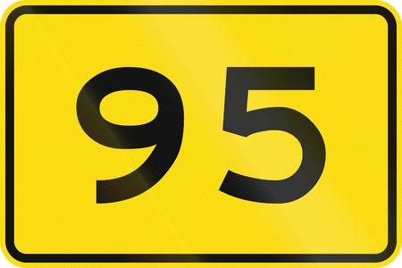 95: New Zealand road sign - Advisory speed of 95 kmh. Stock Photo