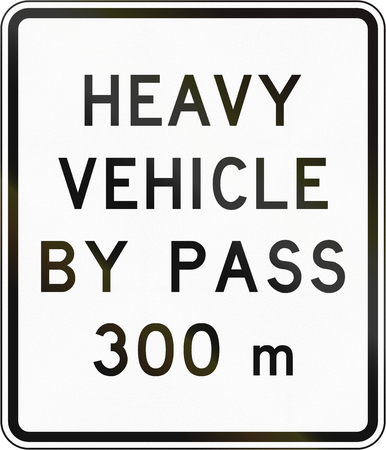 bypass: New Zealand road sign - Bypass for heavy vehicles ahead in 300 metres.