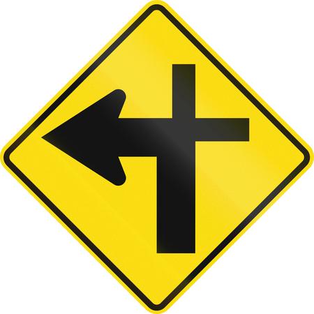crossroads: New Zealand road sign - Crossroads ahead (priority turns left).