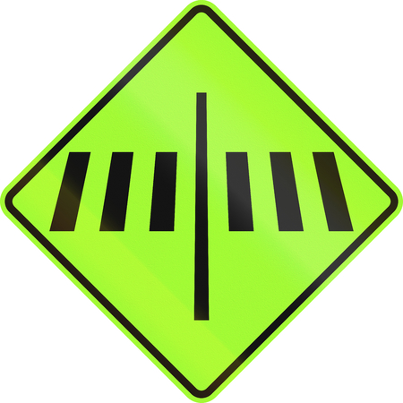 pedestrian: New Zealand road sign - Dedicated pedestrian crossing ahead, fluorescent green version.