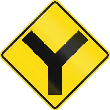 uncontrolled: New Zealand road sign - Uncontrolled Y-junction ahead.