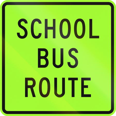New Zealand road sign - School bus route, fluorescent version.