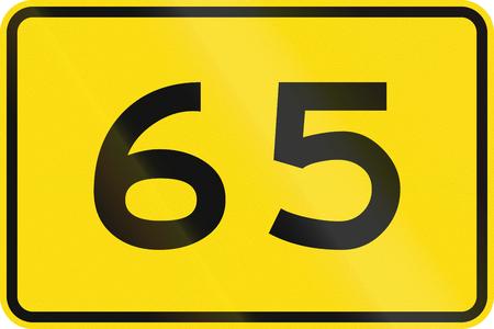advisory: New Zealand road sign - Advisory speed of 65 kmh.