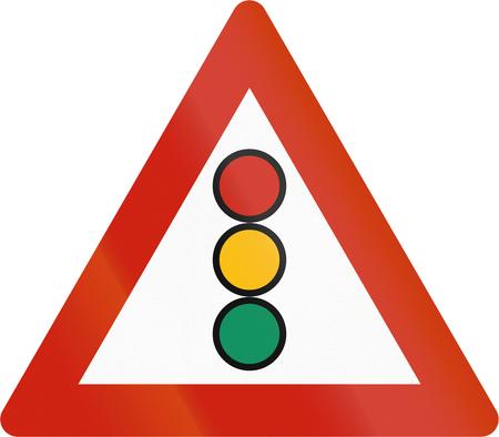 road warning sign: Norwegian road warning sign - Traffic lights.