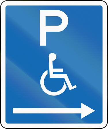 disabled parking sign: New Zealand road sign - Parking zone reserved for disabled persons with no time limit, on the right of this sign.