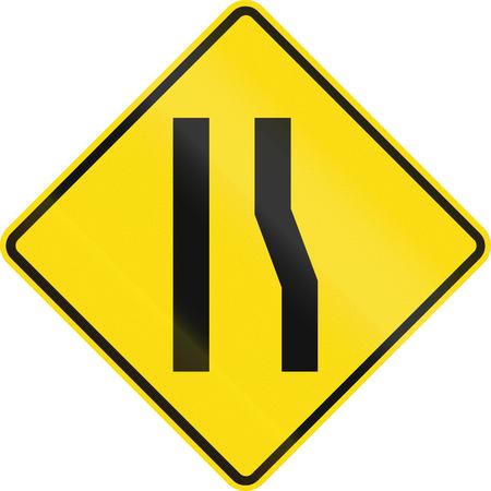 narrows: New Zealand road sign - Road narrows ahead on right. Stock Photo