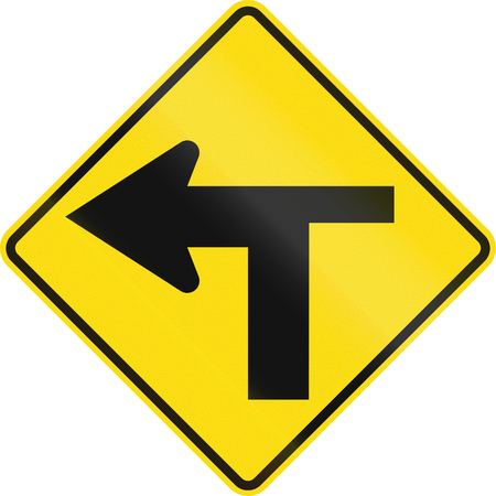 junction: New Zealand road sign - T Junction controlled (priority turns left). Stock Photo