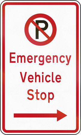 new zealand word: New Zealand road sign - Emergency vehicle stop.