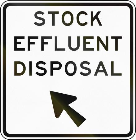 effluent: New Zealand road sign - Stock effluent disposal point, veer left.
