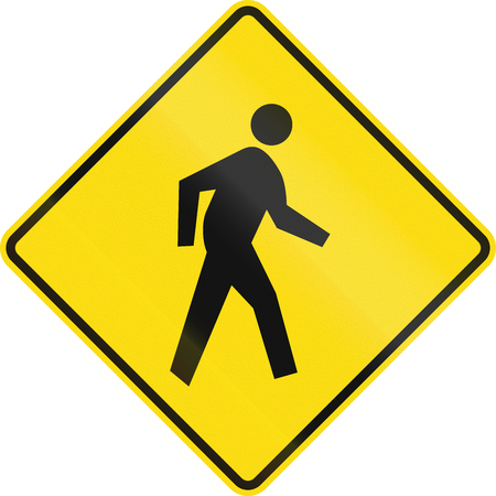pedestrians: New Zealand road sign - Watch for pedestrians on or near the road.