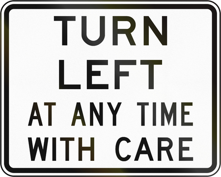 turn left sign: New Zealand road sign - Left turn at any time with care. Stock Photo