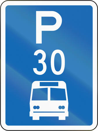 frontal view: New Zealand road sign - Parking zone for buses with time limit.