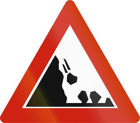 road warning sign: Norwegian road warning sign - Falling rocks on the left. Stock Photo