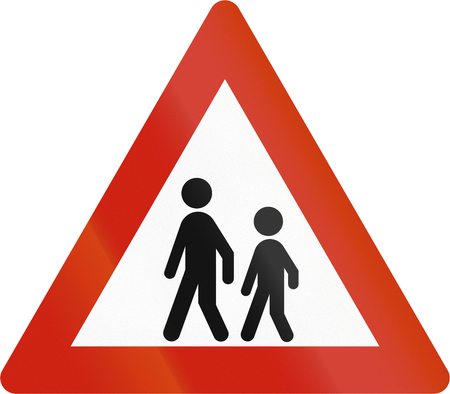 road warning sign: Norwegian road warning sign - Watch for children. Stock Photo