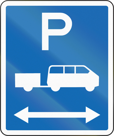 time limit: New Zealand road sign - Parking zone for shuttles with no time limit, on both sides of this sign.