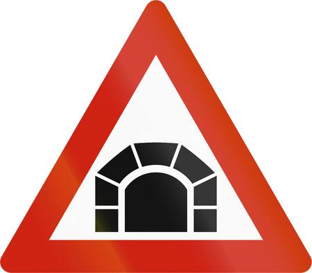 road warning sign: Norwegian road warning sign - Tunnel ahead.