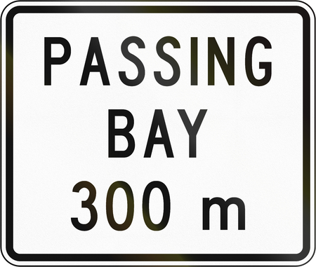 overtaking: New Zealand road sign - Passling bay ahead in 300 metres.