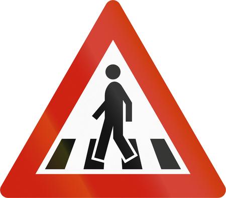 zebra crossing: Norwegian road warning sign - Zebra crossing.