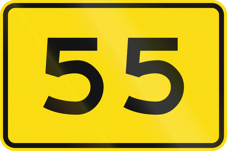 advisory: New Zealand road sign - Advisory speed of 55 kmh. Stock Photo