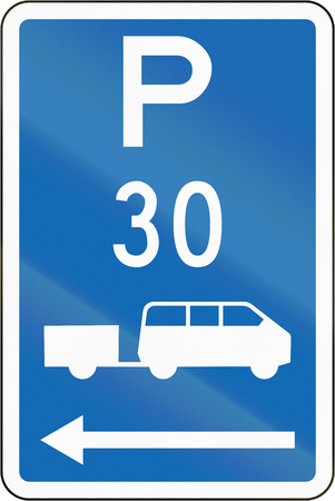 time limit: New Zealand road sign - Parking zone for shuttles with time limit, on the left of this sign.