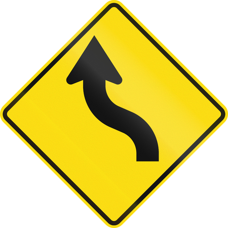 reverse: New Zealand road sign - Reverse curve less than 60 degrees, to left.