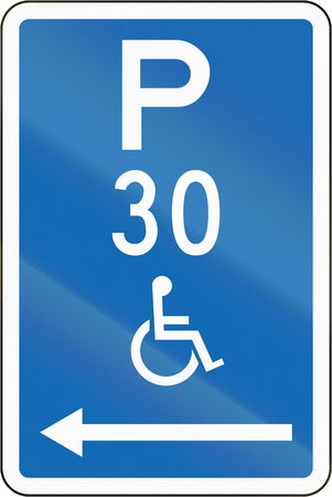 physical impairment: New Zealand road sign - Parking zone reserved for disabled persons with time limit, on the left of this sign.