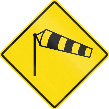 windsock: New Zealand road sign - Danger of powerful wind gusts. Stock Photo