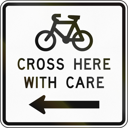 advising: New Zealand road sign - Sign advising cyclist to cross with care. Stock Photo