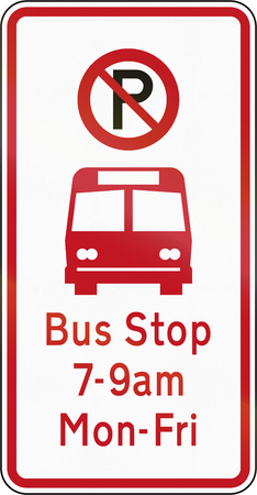 workday: New Zealand road sign - Bus stop. Stock Photo