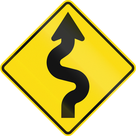 reverse: New Zealand road sign - Reverse curves (less than 1km in extent) ahead, first curve to right.