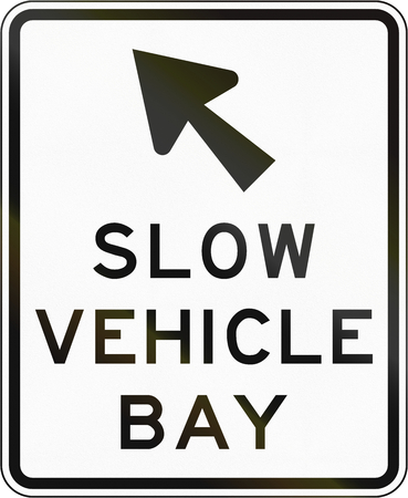 bay: New Zealand road sign - Indicator sign for a slow vehicle bay. Stock Photo