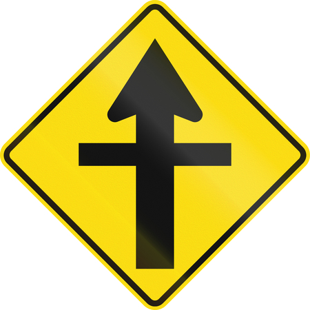 ahead: New Zealand road sign - Crossroads ahead with priority.