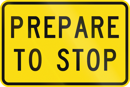 prepare: New Zealand road sign - Prepare to stop ahead.