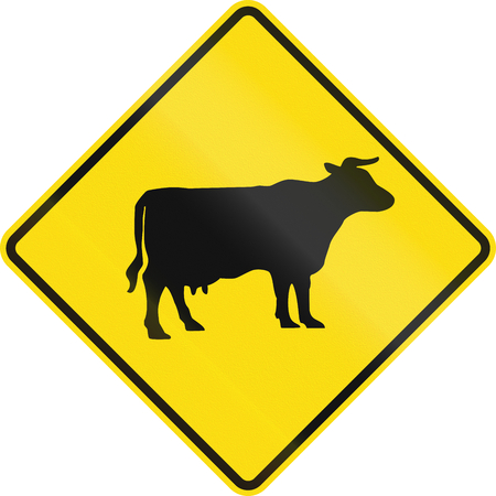 cattle: New Zealand road sign - Watch for cattle. Stock Photo