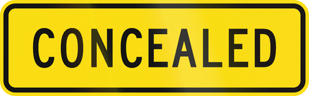 concealed: New Zealand road sign - Concealed danger.
