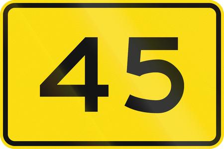 advisory: New Zealand road sign - Advisory speed of 45 kmh. Stock Photo