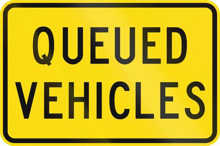 ahead: New Zealand road sign - Queued vehicles ahead.