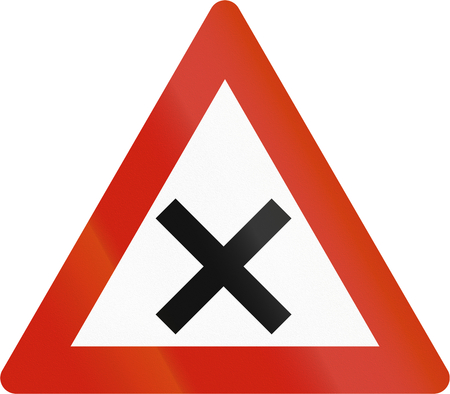 road warning sign: Norwegian road warning sign - Uncontrolled crossroads. Stock Photo