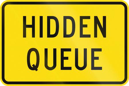 road ahead: New Zealand road sign - Hidden queue ahead. Stock Photo