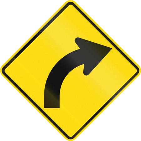 sharp curve: New Zealand road sign - Curve between 15 and 90 degrees to right. Stock Photo