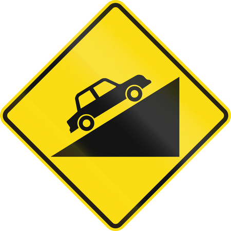 uphill: New Zealand road sign PW-27.1 - Steep upward grade.