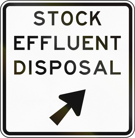 effluent: New Zealand road sign - Stock effluent disposal point, veer right.
