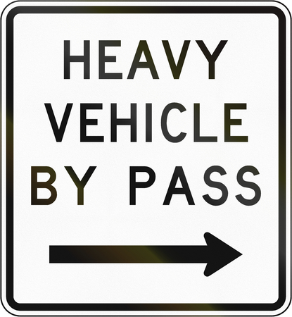 bypass: New Zealand road sign - Bypass for heavy vehicles, to right.