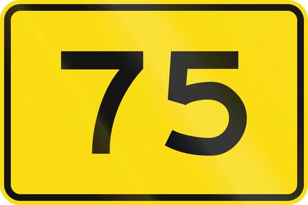 advisory: New Zealand road sign - Advisory speed of 75 kmh.