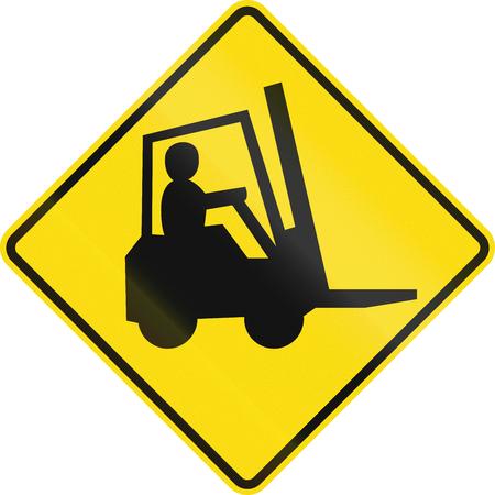 뉴질랜드 도로 표지 - 지게차 및 기타 작업 차량을 조심하십시오.