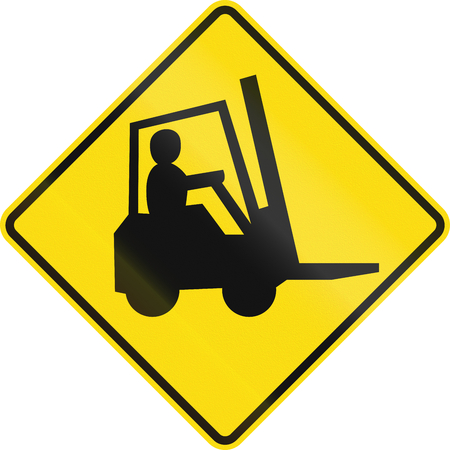 forklifts: New Zealand road sign - Watch for forklifts and other work vehicles.
