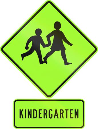 Road sign assembly in New Zealand - Kindergarten children, fluorescent version.