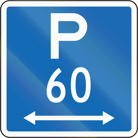 permitted: New Zealand road sign - Parking permitted during standard hours for a maximum time of 60 minutes, on both sides of this sign. Stock Photo