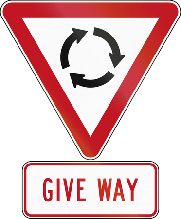 roundabout: New Zealand road sign assembly - Give Way at Roundabout. Stock Photo