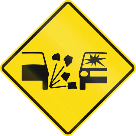 gravel: New Zealand road sign - Gravel surface. Stock Photo